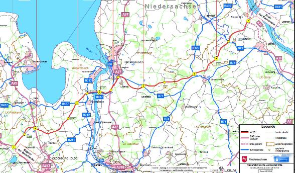 Übersichtskarte Linienführung der A20